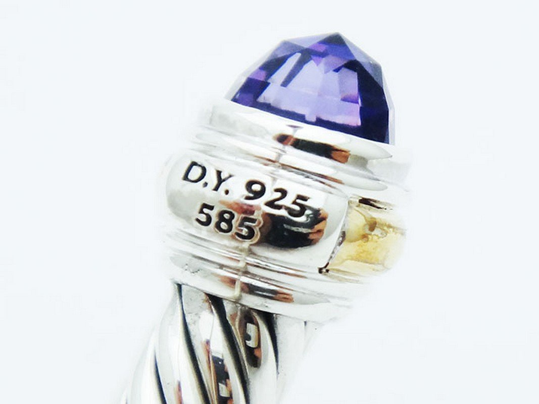 David Yurman 925 Sterling Cable Bracelet Amethyst 14K - 3