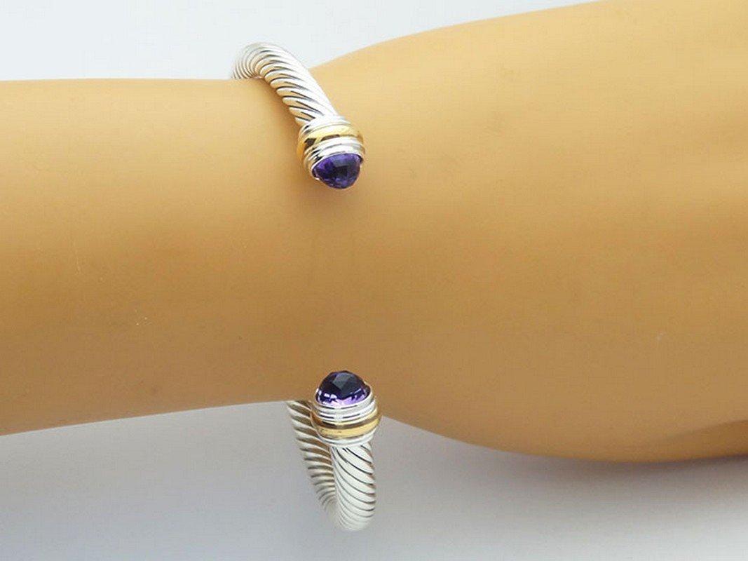 David Yurman 925 Sterling Cable Bracelet Amethyst 14K - 4