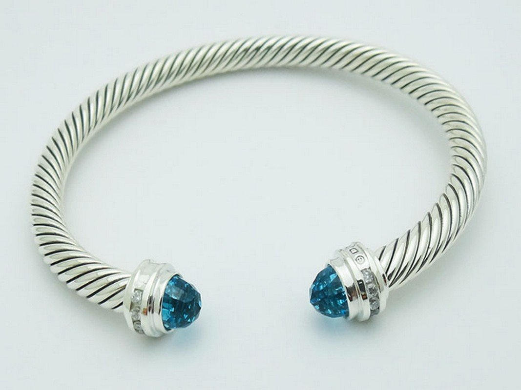 David Yurman 925 Sterling Bracelet Blue Topaz &