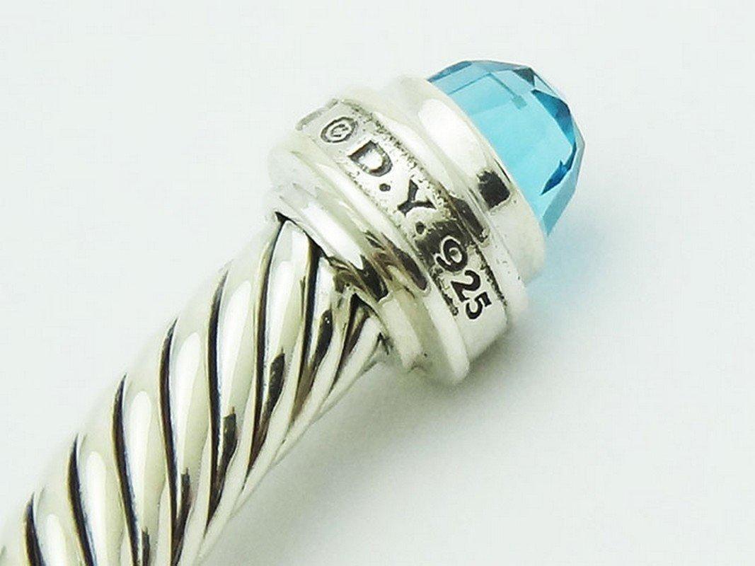 David Yurman 925 Sterling Bracelet Blue Topaz & - 2