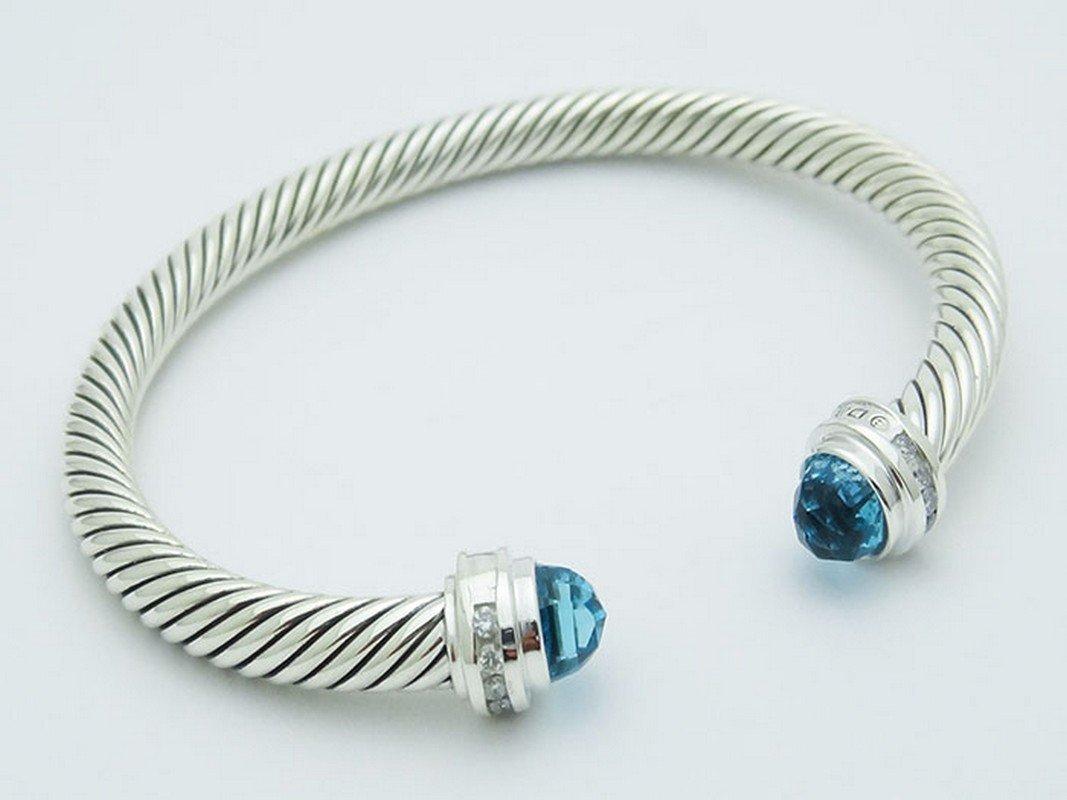 David Yurman 925 Sterling Bracelet Blue Topaz & - 3