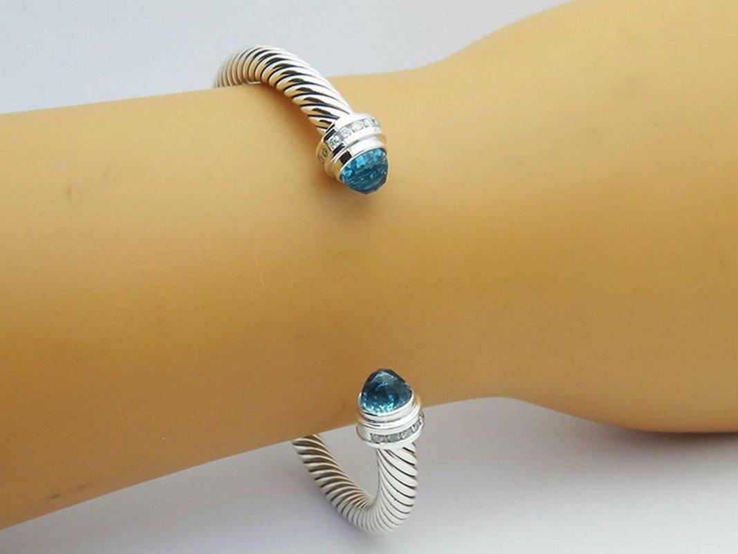 David Yurman 925 Sterling Bracelet Blue Topaz & - 4