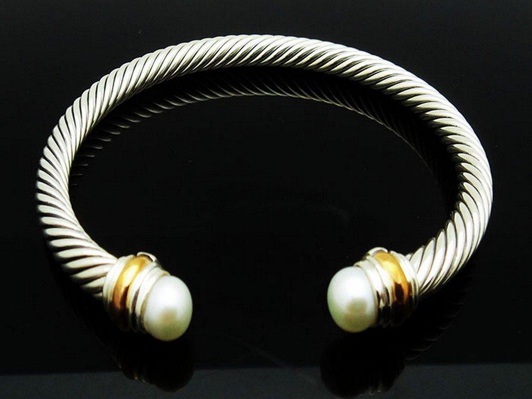 David Yurman 925 Silver Cable Bracelet Pearl & 14K Gold