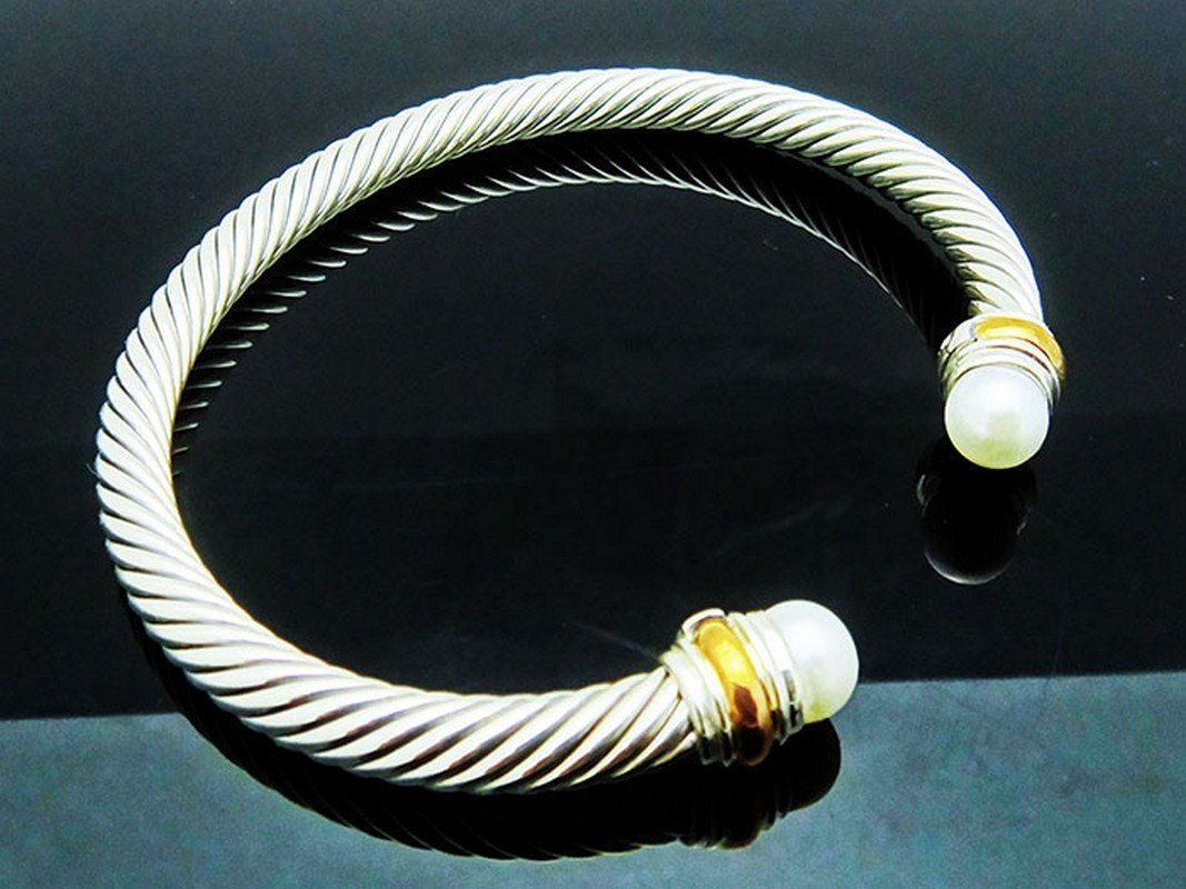 David Yurman 925 Silver Cable Bracelet Pearl & 14K Gold - 2