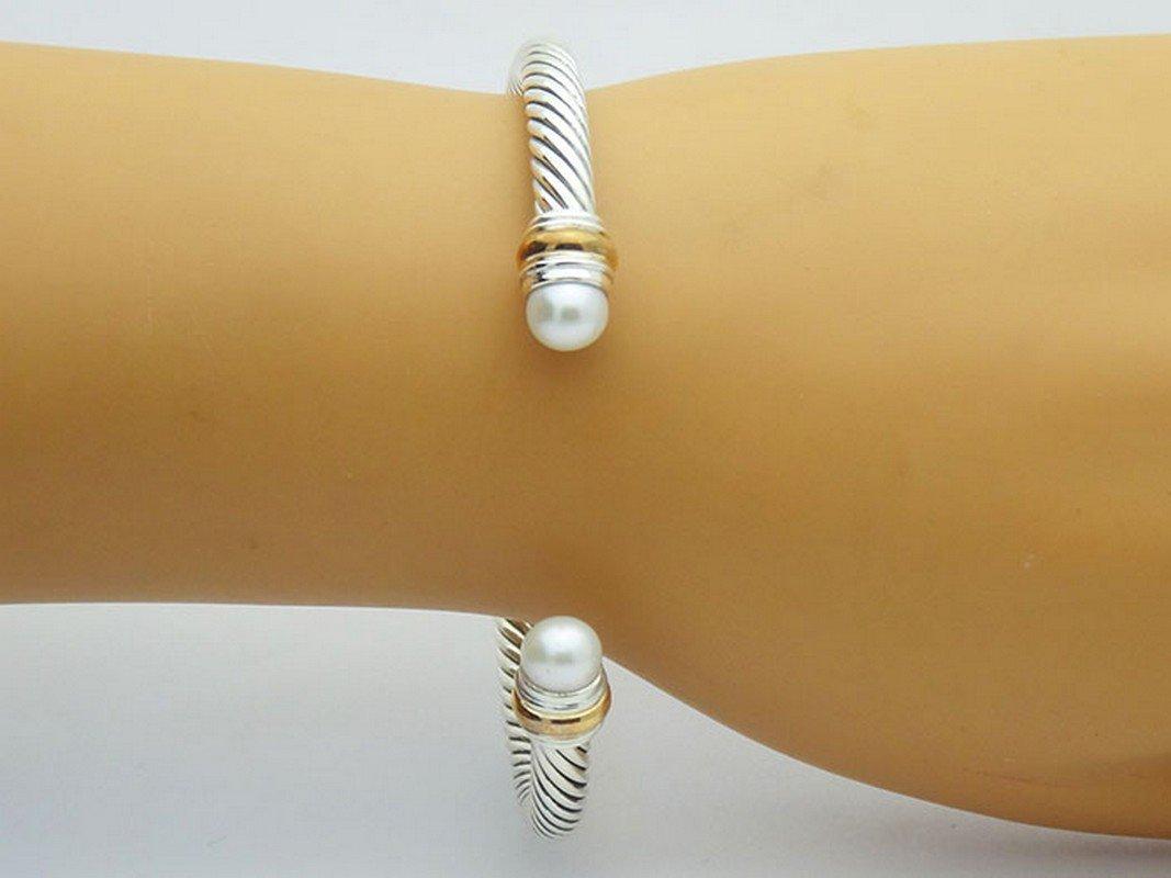 David Yurman 925 Silver Cable Bracelet Pearl & 14K Gold - 4