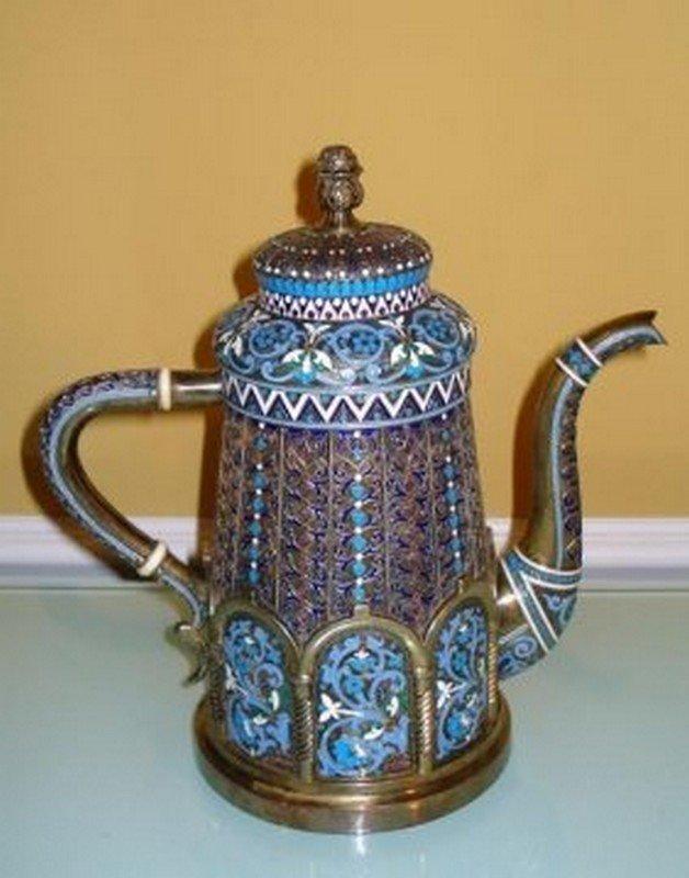 LARGE RUSSIAN SILVER ENAMEL TEA POT