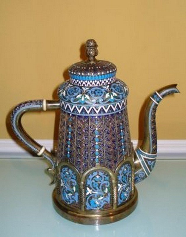 LARGE RUSSIAN SILVER ENAMEL TEA POT