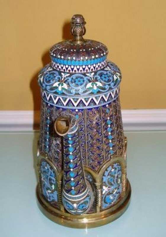 LARGE RUSSIAN SILVER ENAMEL TEA POT - 2