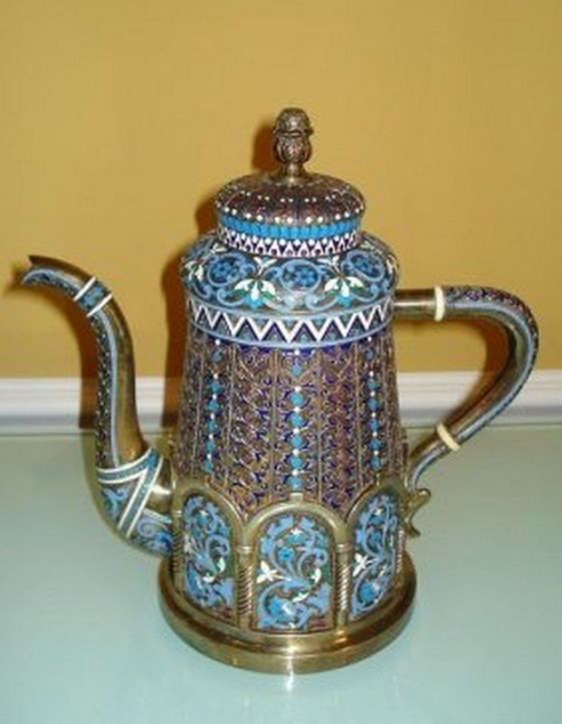 LARGE RUSSIAN SILVER ENAMEL TEA POT - 3