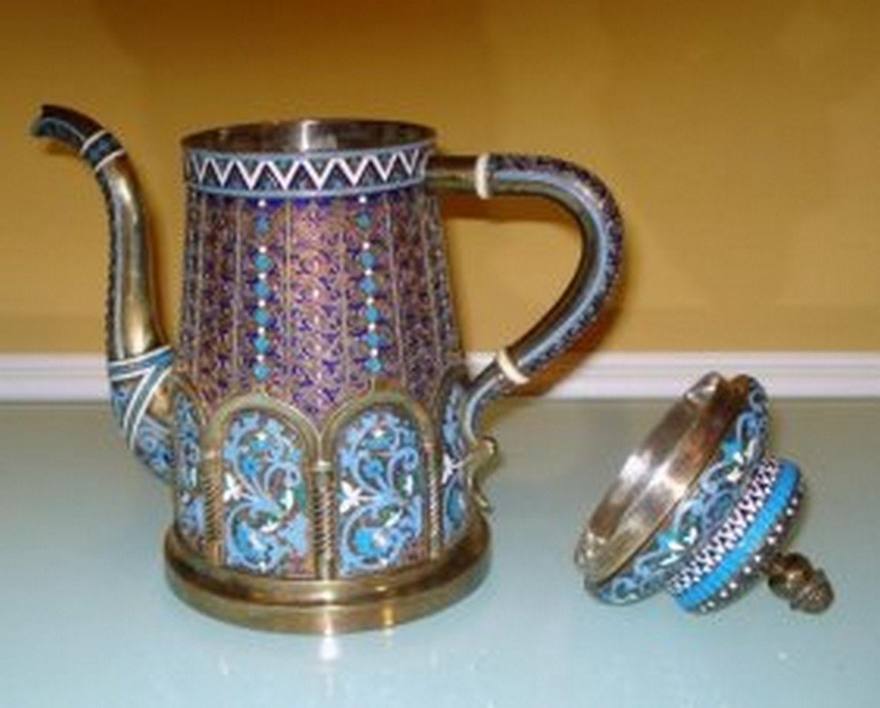 LARGE RUSSIAN SILVER ENAMEL TEA POT - 5