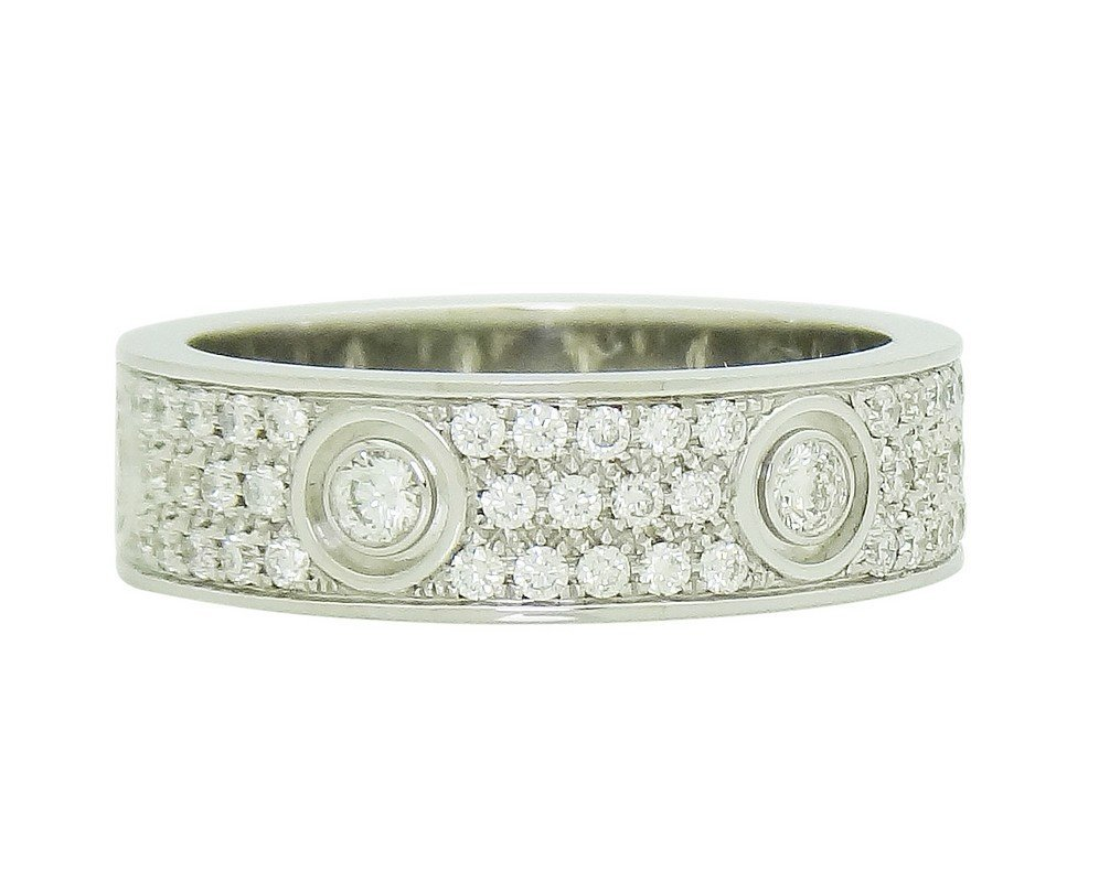 Cartier 18k White Gold Diamond Love Band Ring Size 63