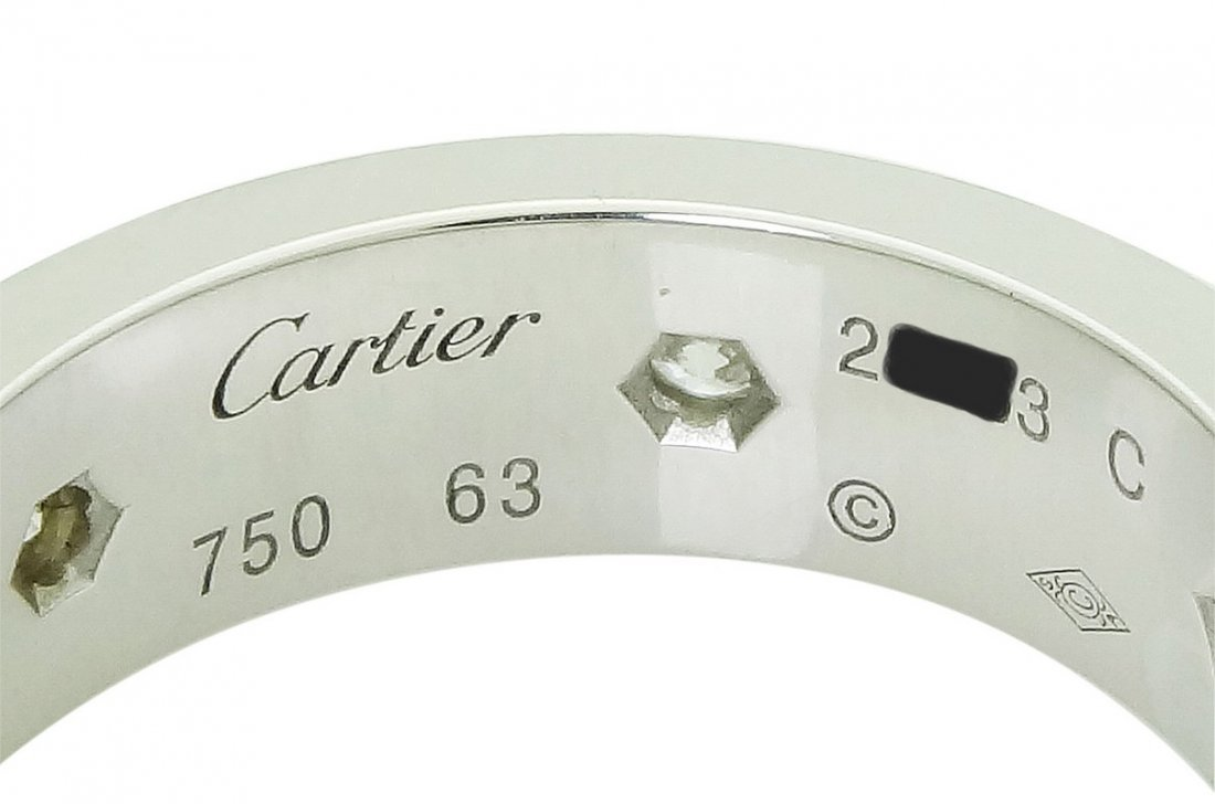Cartier 18k White Gold Diamond Love Band Ring Size 63 - 2