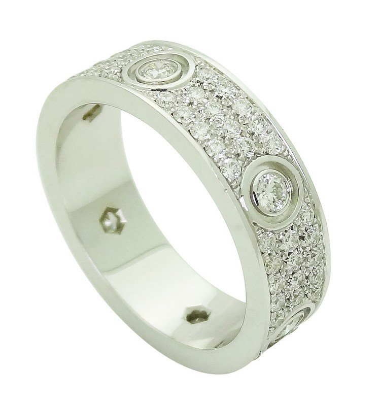 Cartier 18k White Gold Diamond Love Band Ring Size 63 - 3