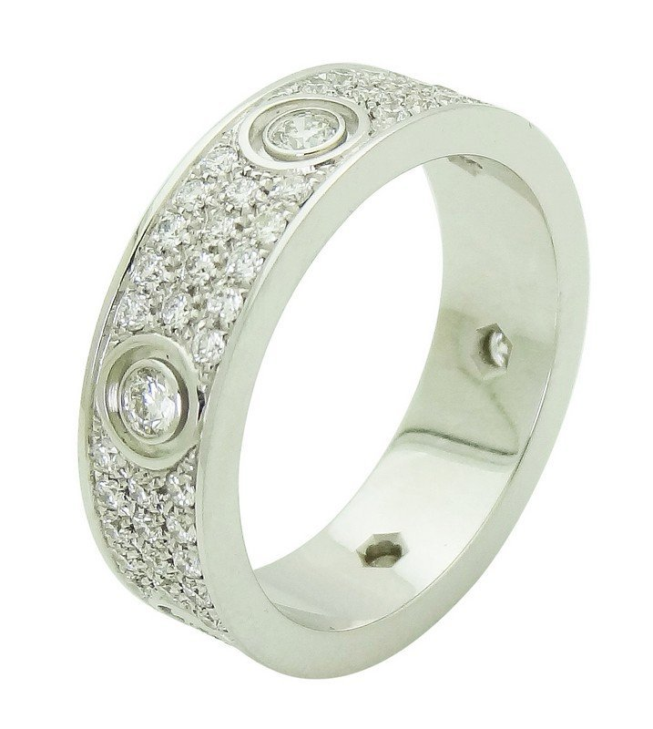 Cartier 18k White Gold Diamond Love Band Ring Size 63 - 4