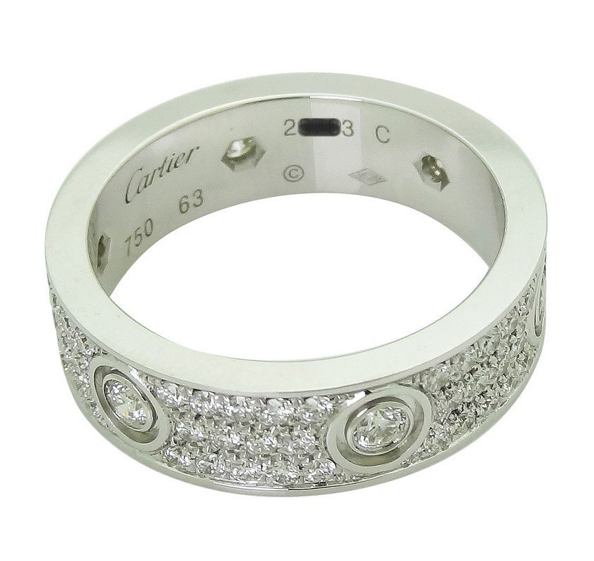 Cartier 18k White Gold Diamond Love Band Ring Size 63 - 5