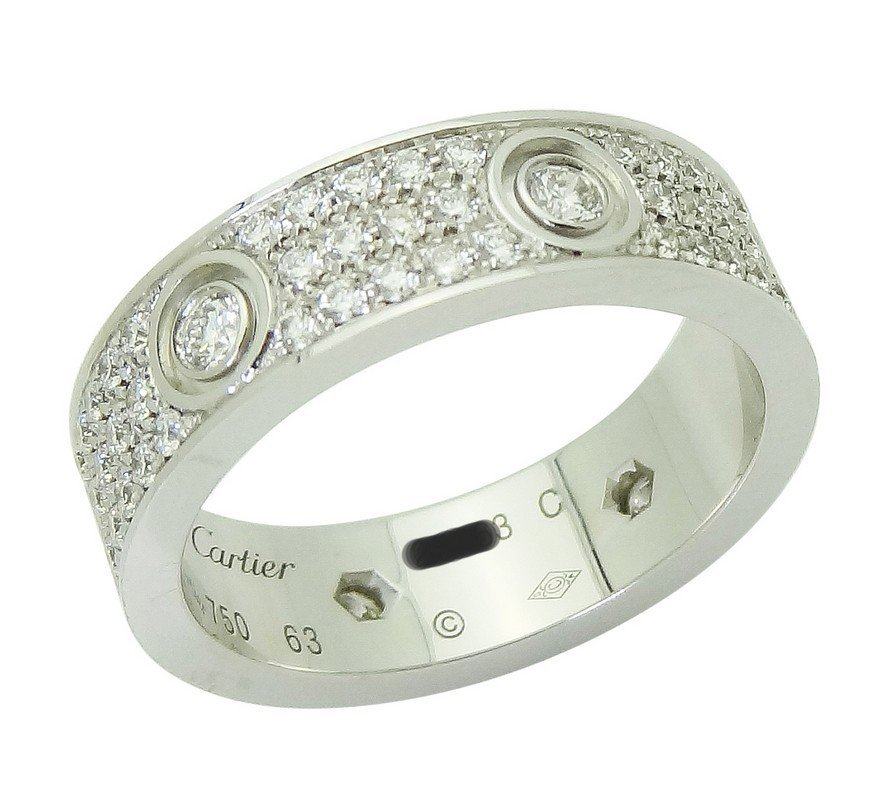 Cartier 18k White Gold Diamond Love Band Ring Size 63 - 6