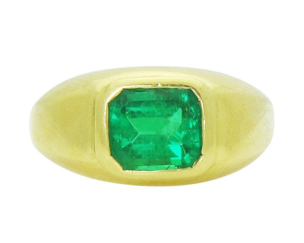 18K Yellow Gold Emerald Men's Ring