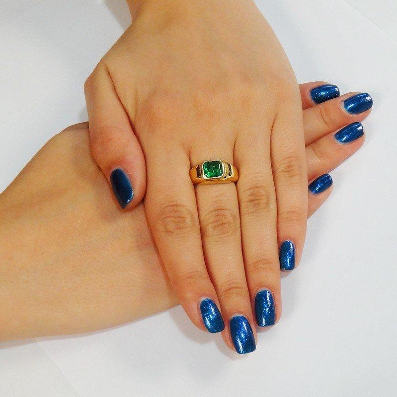 18K Yellow Gold Emerald Men's Ring - 4