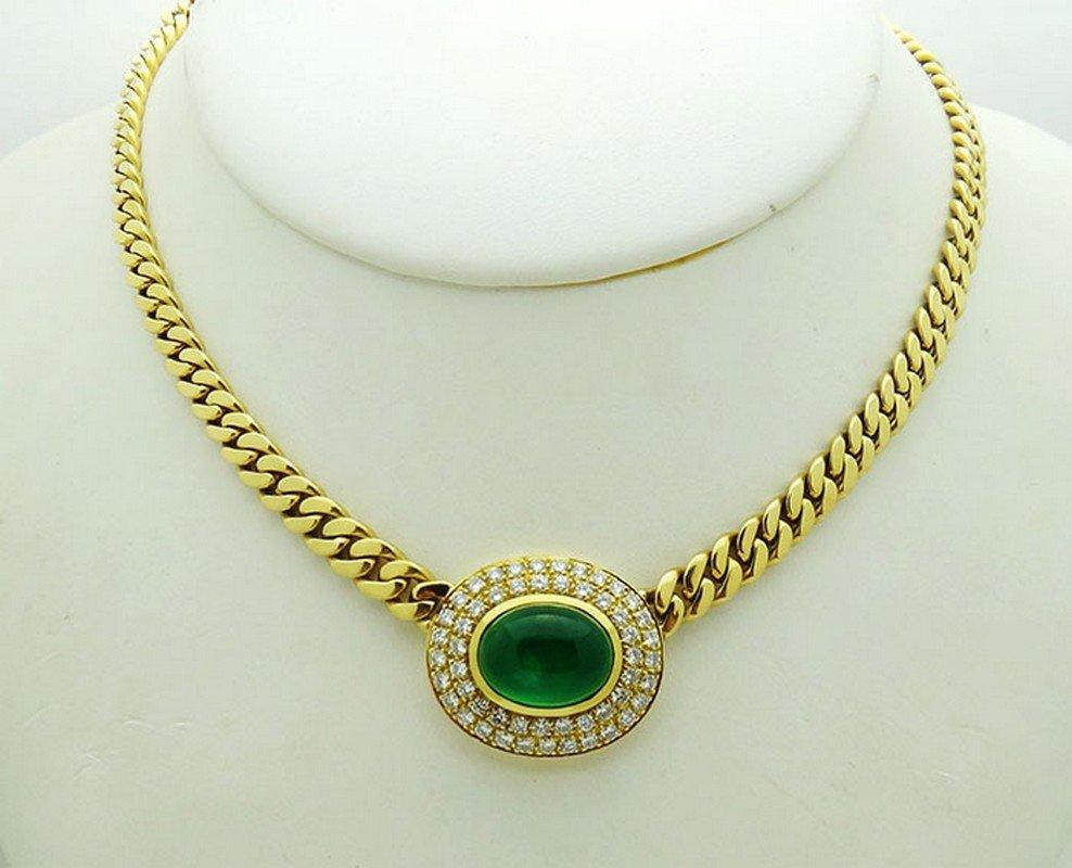 18K Gold Cabochon Emerald 1.56tcw Diamond Chain