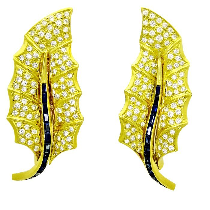 Pair of 18k Gold leaf earrings Diamonds & Sapphires
