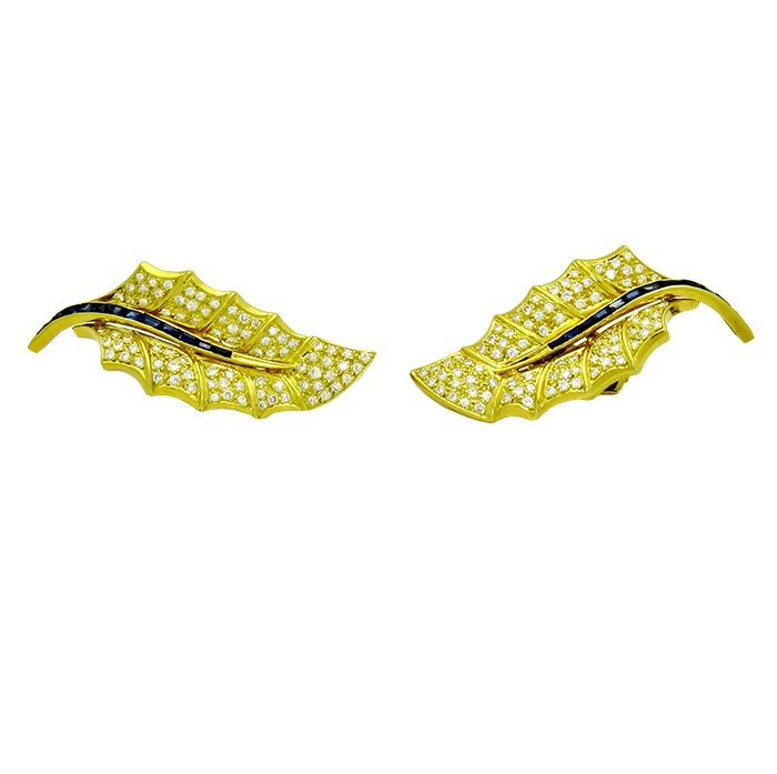 Pair of 18k Gold leaf earrings Diamonds & Sapphires - 2