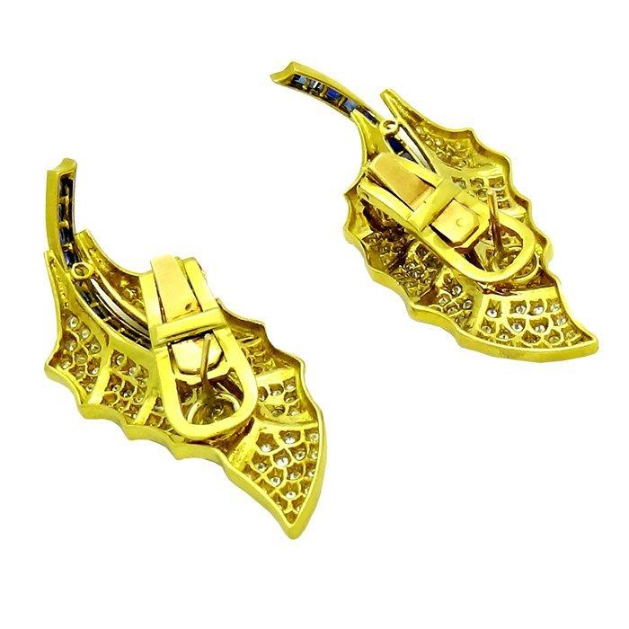 Pair of 18k Gold leaf earrings Diamonds & Sapphires - 3