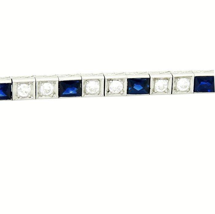 Platinum Filigree Diamond and Sapphire Tennis Bracelet. - 2