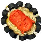 14K Gold Coral Buddah Pendent with Onyx & Diamonds