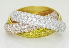 Trinity De Cartier 18k Gold & Diamond Band Ring Size 55