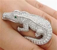 CARTIER Diamond & Emerald Alligator Platinum Ring
