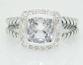 David Yurman 925 Sterling Silver Topaz & Diamond Ring
