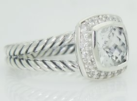 David Yurman 925 Sterling Silver Topaz & Diamond Ring - 2