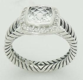 David Yurman 925 Sterling Silver Topaz & Diamond Ring - 4