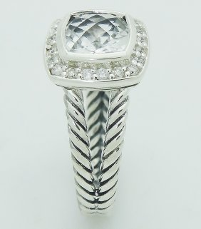 David Yurman 925 Sterling Silver Topaz & Diamond Ring - 5