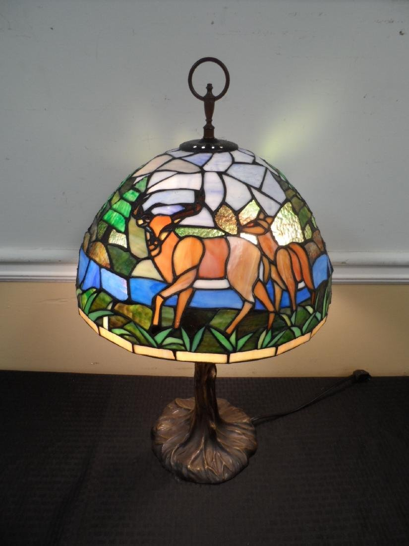 Stained Glass Lamp Depicting Deer
