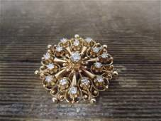 Vintage Handmade Diamond and 14k Gold Brooch