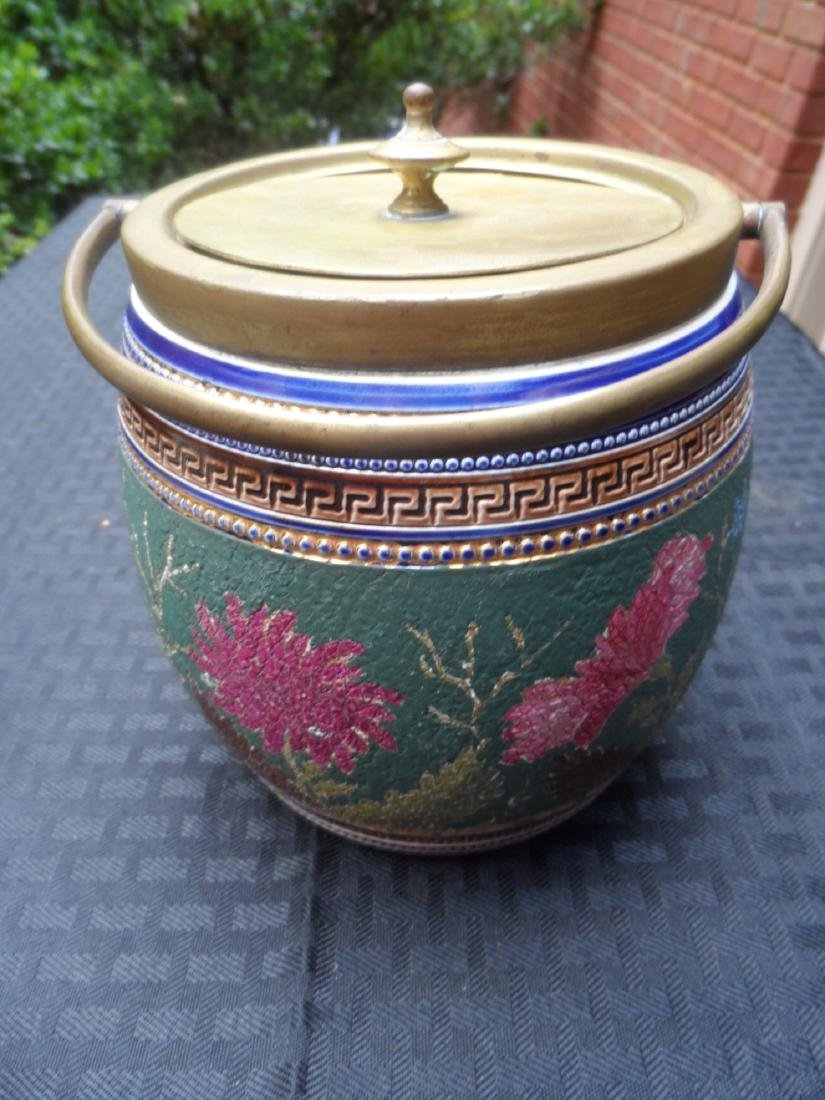 Early english porcelain and brass biscuit jar