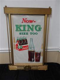 1958 Cardboard Coca-Cola Sign with Wooden Gold Guilded