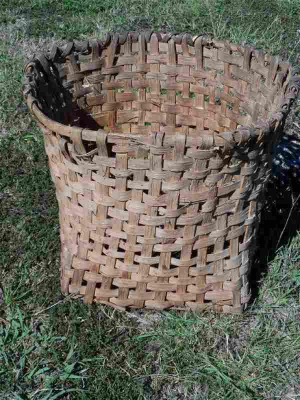 Antique Georgia Primative Split Oak Cotton Basket