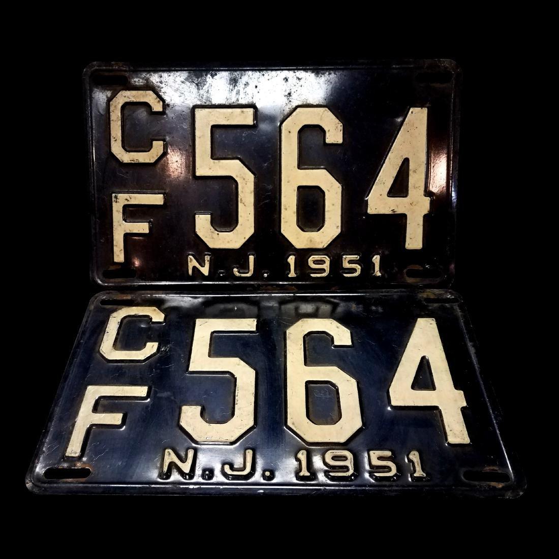 Vintage New Jersey License Plate Set