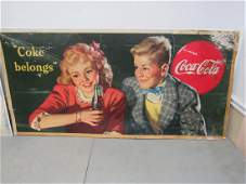 Large 1944 Cardboard Coca-Cola Sign