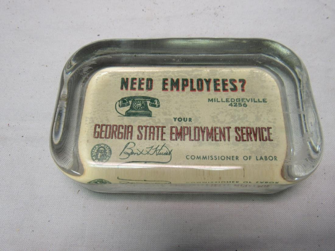 1940's Georgia Advertising Glass Paperweight