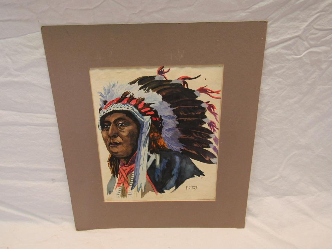 1933 Earl Marks Native American Water Color