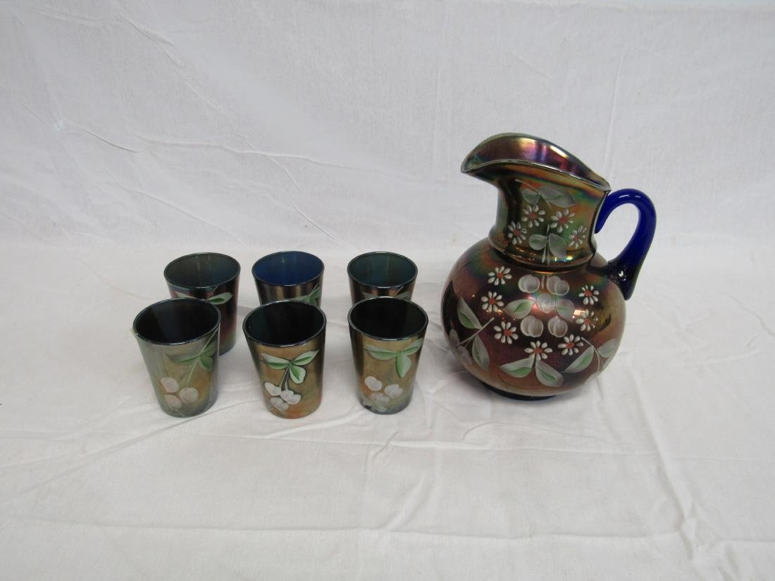 Vintage Hand Painted Carnival Pitcher and 6 tumblers