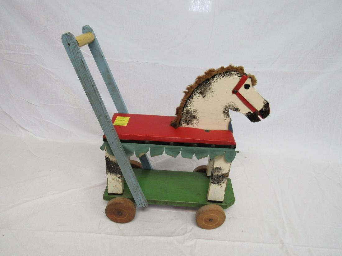 1940s Folk Art Push Horse