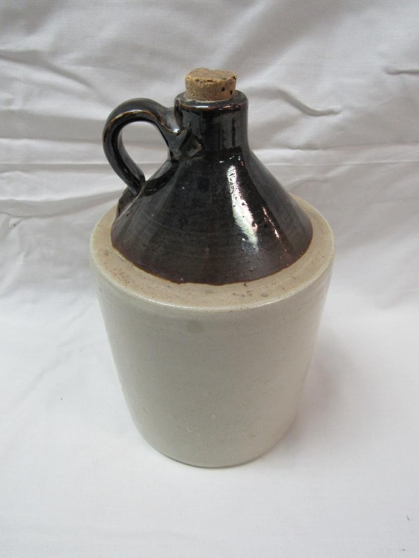 1 Gallon White and Brown Whiskey Jug