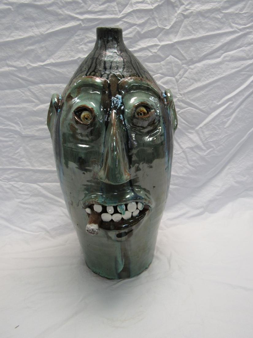 Large Billy Jo Craven Southern Folk Art Face Jug