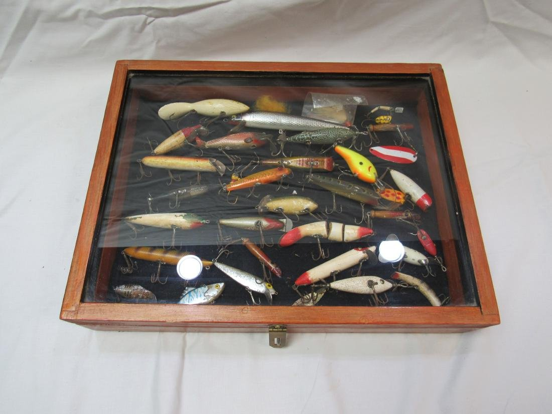 Shadow Box of Antique and Vintage Fishing Lures