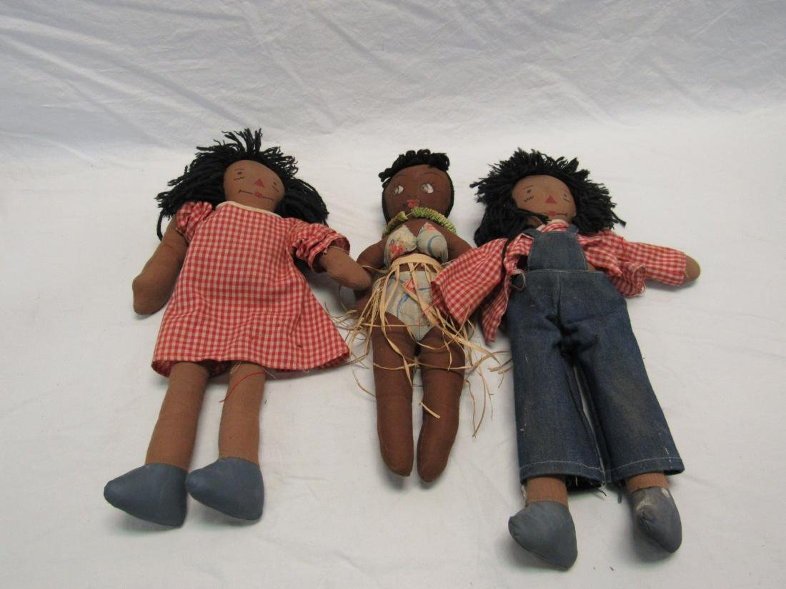 Lot of 3 Vintage Black Americana Dolls