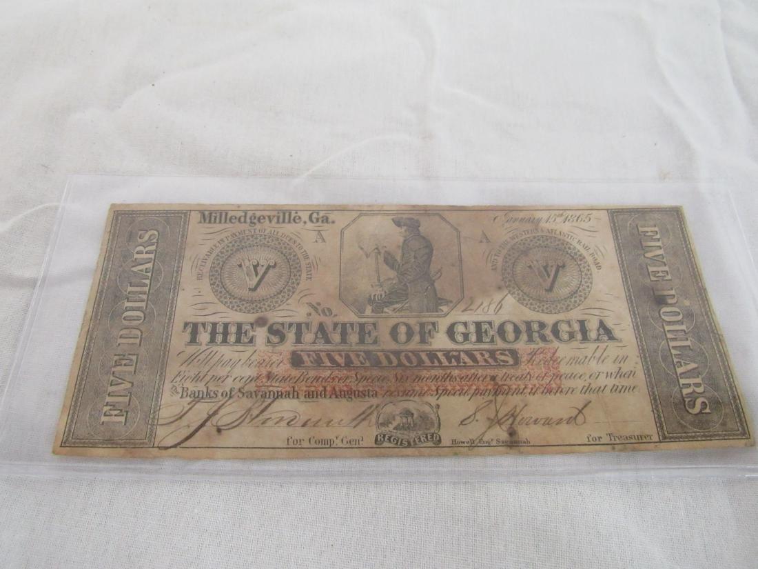 Confederate Note Milledgeville, Ga